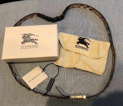 NIB Womens Burberry Belt Size 90 Chocolate Leather/Classic Print Inside W/ Studs