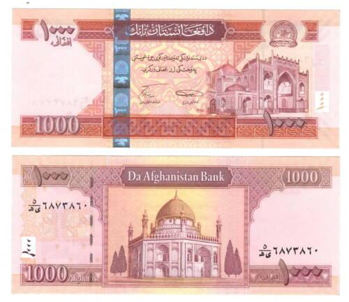 AFGHANISTAN UNC 1000 Afghanis Banknote (2008) P-77a Paper Money