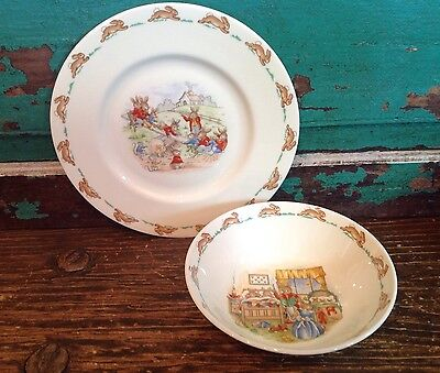 Vintage Bunnykins Plate And Bowl, English Fine Bone China, Royal Doulton, U K