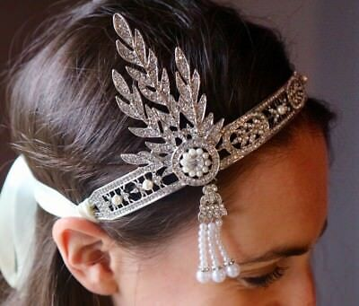 1920s Great Gatsby Daisy Headband Art Deco style silver Flapper headpiece ()