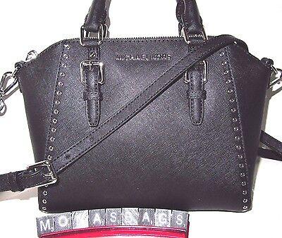 Michael Kors Ciara Silver Grommet Black Leather Medium Messenger Bag NWT $298