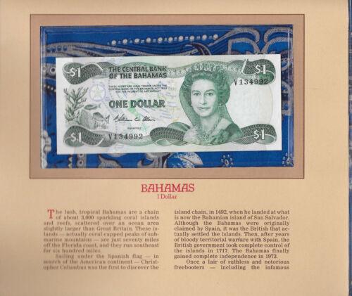 Most Treasured Banknotes Bahamas 1984 1 Dollar P-43a UNC Prefix V Allen