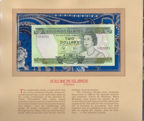 Most Treasured Banknotes Solomon Islands $2  1977 P-5a UNC prefix A/2 019251