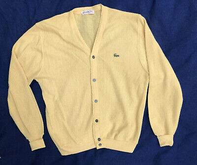 VINTAGE 1970's IZOD of LONDON LACOSTE YELLOW Button Down Cardigan Sweater XL USA