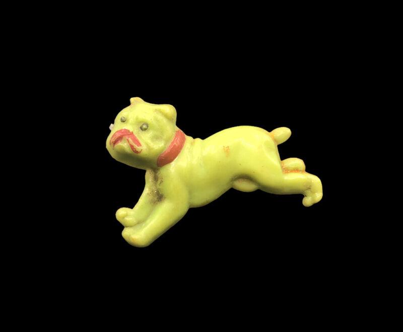 Vintage GreenLucite English Bulldog Pin Brooch