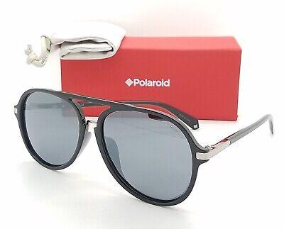 NEW Polaroid sunglasses PLD2077/F/S 807EX Black 58 Silver Grey AUTHENTIC (Polaroid Sunglasses Aviator)