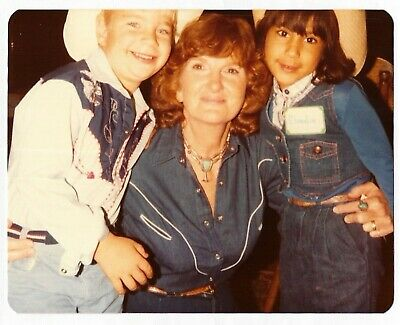 Little Girl 80s Outfits (Vintage 80s PHOTO Family Mom w/ Little Girl & Boy in Western Cowboy)