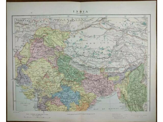 Vintage 1896 INDIA Map ~ Old Antique Original NEW DELHI LUCKNOW KANPUR BOMBAY