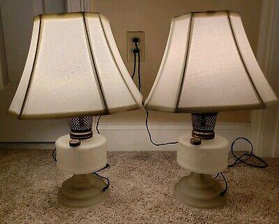 Vintage Paar Passende Elektrifiziert Viktorianische Öl Tischlampe Lampen mit - Lampe Viktorianische Tisch Lampe