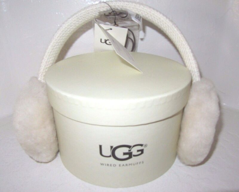 Ugg New Wired Earmuffs Compatible To Audio Devices Creme Sheepskin Wool In Box