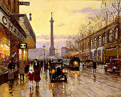 Art Poster French Street Shopping Rue De Lyon Paris Chanel  Art Print