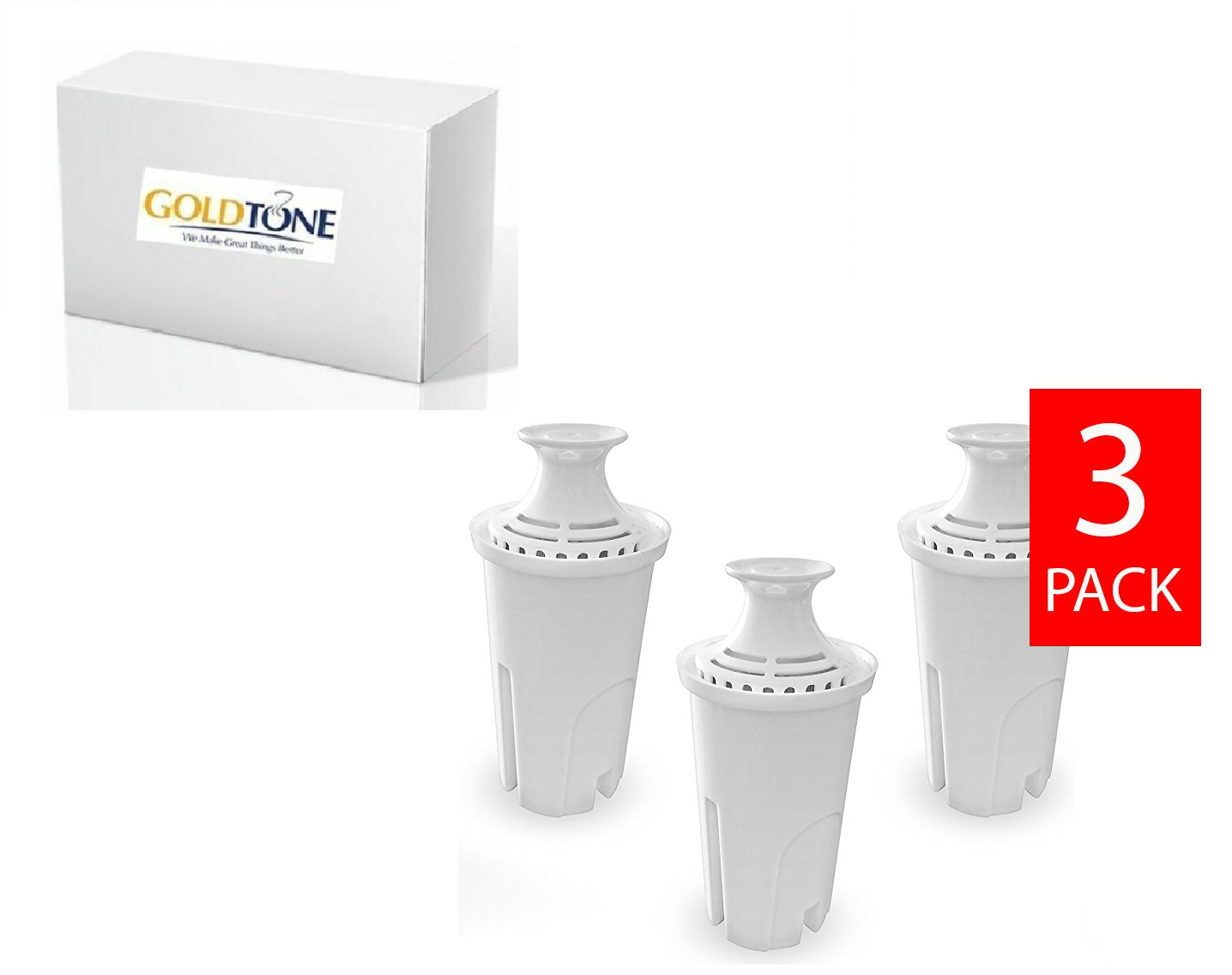 GoldTone Water Filters fits Brita and Mavea Water Pitchers.