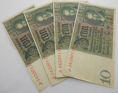 Lot of 4 10 Mark 1929 German Reichsbanknote Reichsmark J Block Consecutive Bills
