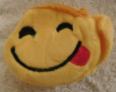 Yellow Smiley Face Coin Purse--Sm. Wristlet-Wide Smile-Hook & Loop Fast.& Zipp. ()