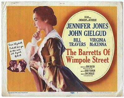 Rare Original VTG 1957 The Barretts Of Wimpole Street MGM Movie Title Lobby Card