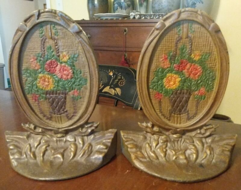 Pair Antique Bookends Flower Basket Frame American Painted Cast Iron