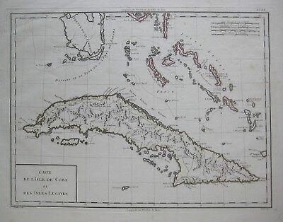 Original 1798 Tardieu Map CUBA BAHAMAS Florida Keys Cat Island Columbus Lucayas