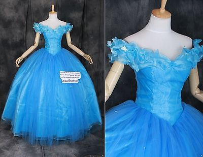 Cinderella Ballkleid Kostüm (H-0001 Princess Cinderella blau LUXUS Ball-Kleid Cosplay Kostüm costume n. Maß)