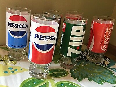 Vintage 80's PEPSI, 7UP,  COCA COLA  12 oz. Footed Drinking Glasses Set Of 6