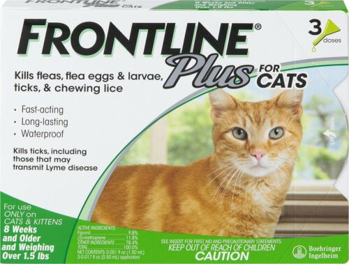 Frontline Plus For flea and tick treatment in cats flea control 3 doses