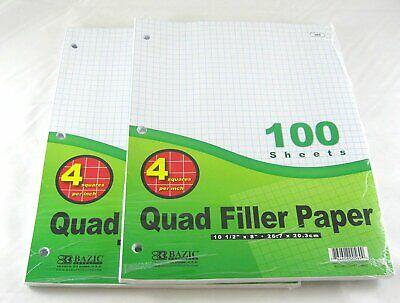 2 Pk Bazic 4-1 Quad Ruled Filler Paper 100 Ct. Per Set