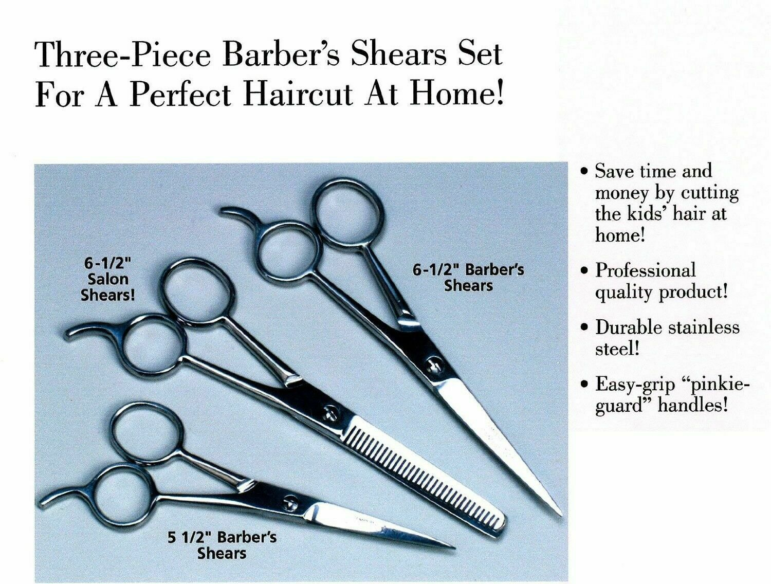 New Hair Cutting Scissors Precision 3-piece Barber Shears Se