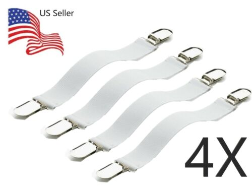 Pack of 4 Bed Sheet Grippers Fasteners Straps Elastic Suspender Grippers
