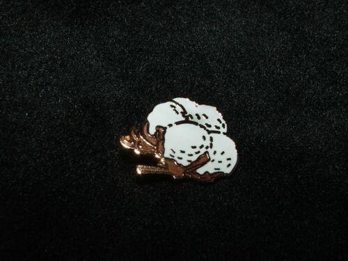 Cotton Boll Farmer Hat Lapel Enameled Pin White Goldtone Tie Tac Estate 2 Availa