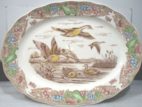 "Vintage  CERAMIC TURKEY DUCK PLATTER JAPAN <>18"" * 13-3/4"""
