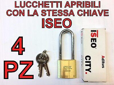 4 LUCCHETTI ISEO APRIBILI CON LA STESSA CHIAVE STESSE CHIAVI UNICA ARCO LUNGO 30
