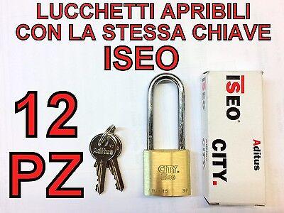 12 LUCCHETTI ISEO APRIBILI CON STESSA CHIAVE STESSE CHIAVI UNICA ARCO LUNGO 30