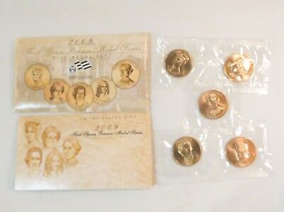 2009 US Mint First Spouse Bronze Medal Set of 5 W/COA in Envelope