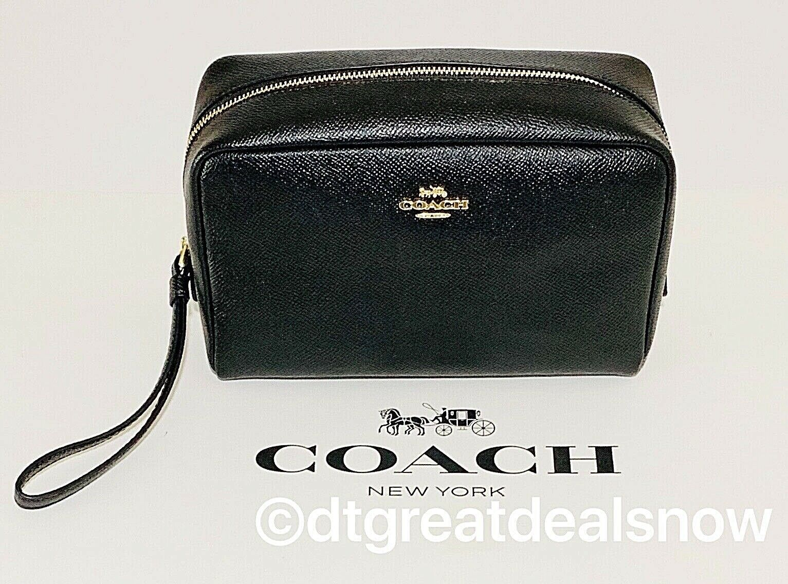 NWT COACH Crossgrain Leather Black Cosmetic Bag 20 w/Silver