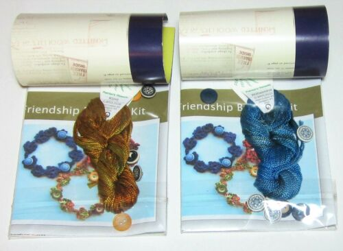 Lot of 2 CROCHET BUTTONED Friendship Bracelet Kits BLUE and RUST with GOLD