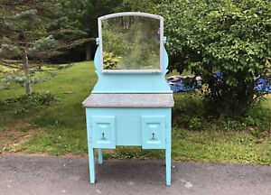 Pretty Vintage Antique Style Cabinet, Turquoise Blue Vanity