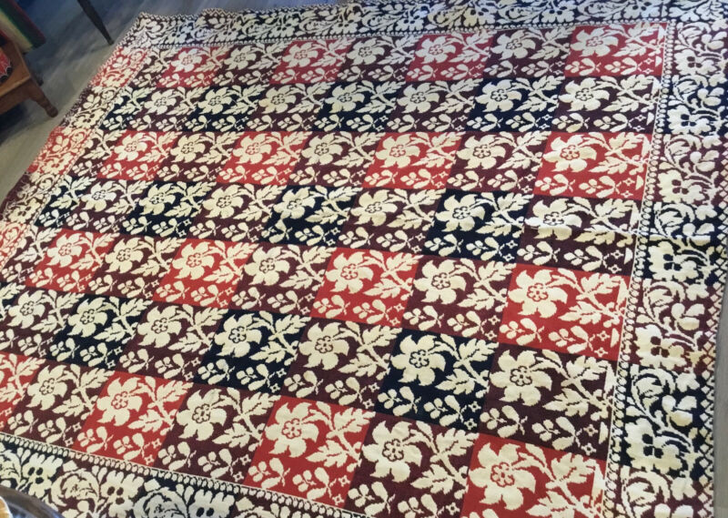 Antique Hand Woven Jacquard Coverlet, Leaves, Flowers, Navy Blue, Rust, Beige