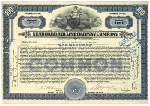 Seaboard Air Line Railway Company. Stock Certificate. 1929