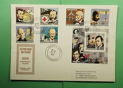 DR WHO 1985 CHAD FDC FAMOUS PEOPLE COMBO S/S IMPERF RED CROSS/CHESS  Lg13059