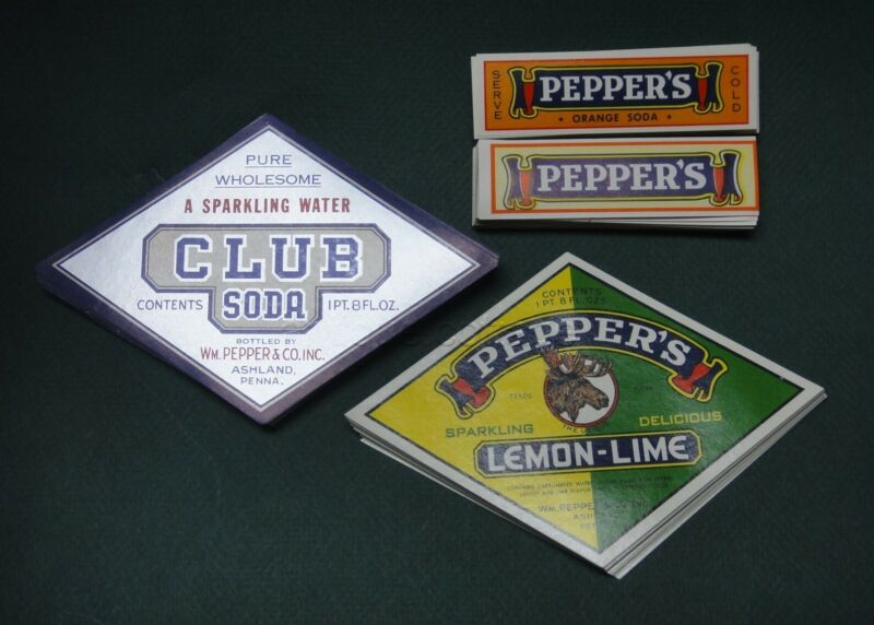 LOT vintage 400 PEPPERS ashland pa SODA BOTTLE LABELS orange sparkling water le