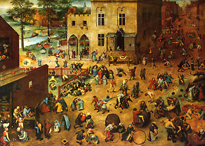 PIETER BRUEGEL :: CHILDREN'S GAMES :: 24 INCH MEDIEVAL CANVAS FINE ART PRINT