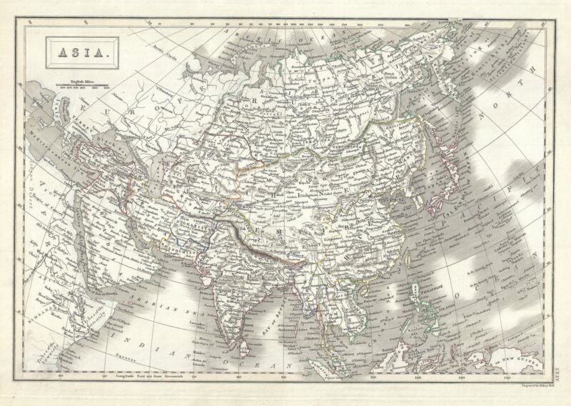 1844 Black Map of Asia