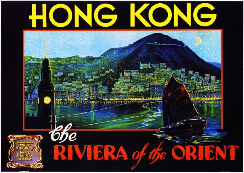 Hong Kong China Riviera Orient Vintage Travel Advertisement Art Poster Print