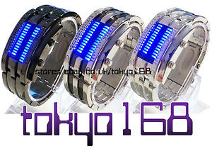 Tokyo Japan Glacial Ice Storm Multicolour Flash LED Black/Silver Watch NEW MK2