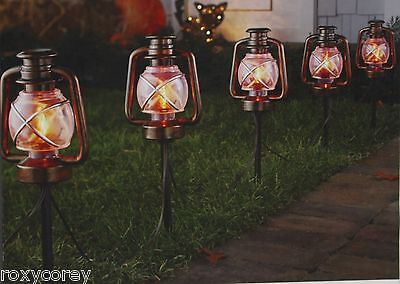 Halloween 5 - 17 in H Orange Flicker Flame Lantern Stake Lights Indoor/Outdoor
