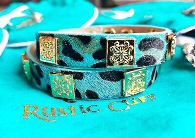 RUSTIC CUFF Meagen Calfskin TEAL Leopard Double Wrap Bracelet w/Gold NWOT