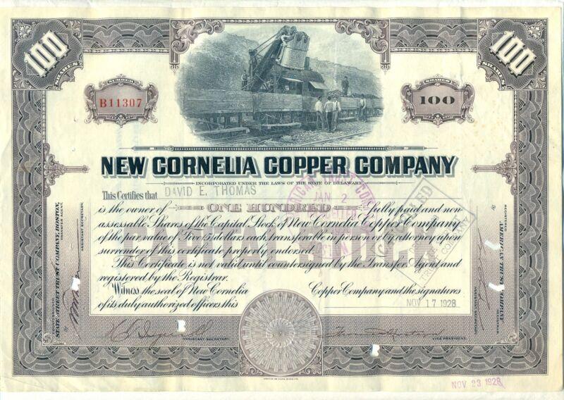 New Cornelia Copper Company Stock Certificate Mining