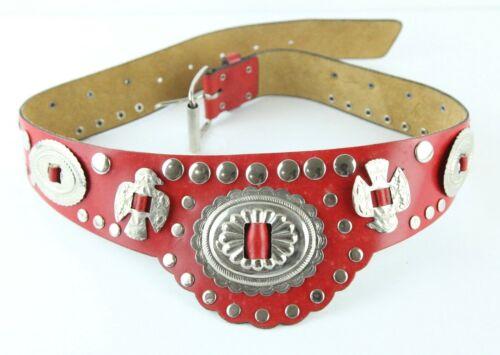 "VTG Red Leather Western Waist belt Silver Tone Concho Bird Boho S/M 26"" - 30"""