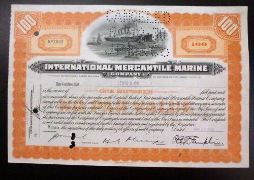 {BJSTAMPS} INTERNATIONAL MERCANTILE MARINE 1930 Stock Certificate