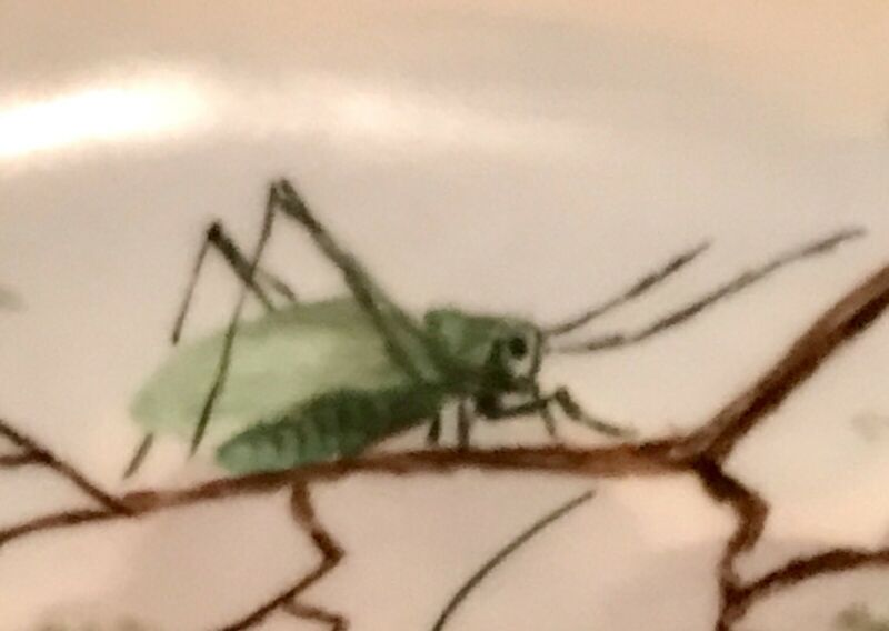 GRASSHOPPERS CRICKETS ANTIQUE HAND PAINTED BONE DISH 1887 !! charming