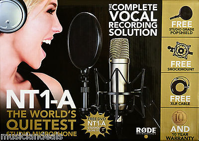 Rode Nt1-a Studio Package W On Stage Boom Microphone Stand New 0